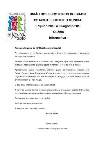 Informativo 1 - União dos Escoteiros do Brasil