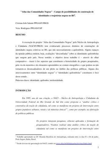 """1 """"Atlas das Comunidades Negras"""" - Campo de ... - ABA"""