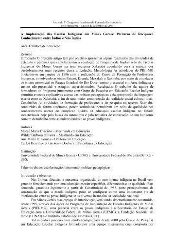 A Implantação das Escolas Indígenas em Minas Gerais ... - UFMG