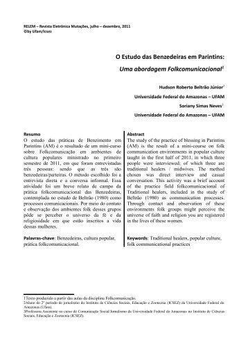 O Estudo das Benzedeiras em Parintins: Uma ... - Revista Mutações