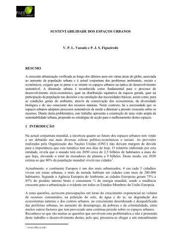 SUSTENTABILIDADE DOS ESPAÇOS URBANOS VPL ... - Pluris2010