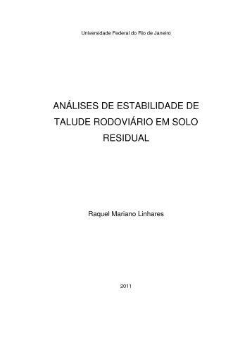 análises de estabilidade de talude rodoviário em solo residual - Poli ...
