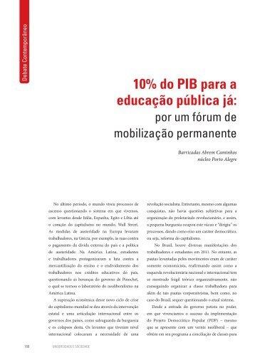 10% do PIB para a educação pública já: - Andes-SN