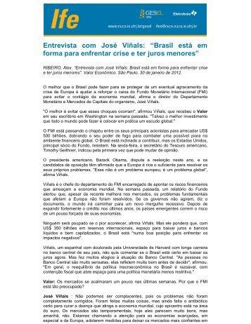 """Entrevista com José Viñals: """"Brasil está em forma para ... - UFRJ"""