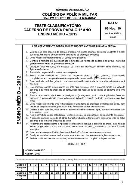 Prova Ensino Médio Colégio Da Polícia Militar Do Paraná