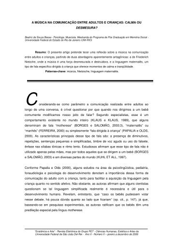 A MÚSICA NA COMUNICAÇÃO ENTRE ADULTOS E ... - UFSJ