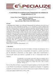 A contribuição da arquitetura para humanização das unidades - IPOG