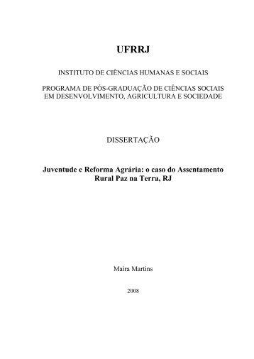 o caso do Assentamento Rural Paz na Terra, RJ - Sistema de ...