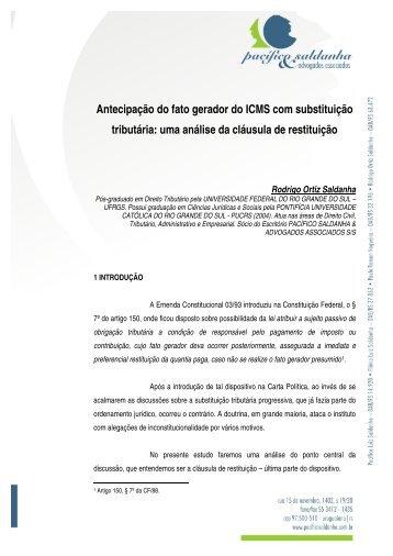 Antecipação do fato gerador do ICMS com substituição tributária ...