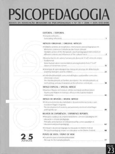 Edição Nº 70 Revista Psicopedagogia