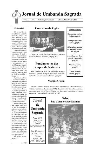 Ano 1 Ed 006 Out 2000 - Colégio de Umbanda Sagrada Pena Branca