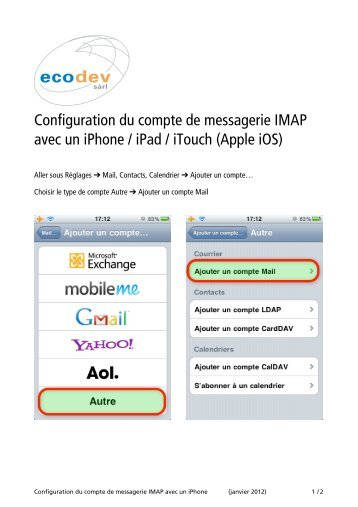 Configuration pour iPhone/iPad/iTouch - Ecodev