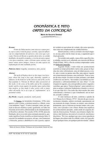 ONOMÁSTICA E MITO ORFEU DA CONCEIÇÃO - Revista de Letras