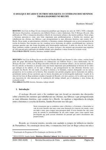 O Moleque Ricardo e Outros Moleques - Revista Encontros de Vista...