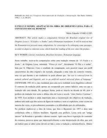 O PÃO E O SONHO: ADAPTAÇÃO DA OBRA DE ... - fflch - USP