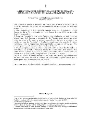 1 A TERRITORIALIDADE TURÍSTICA NO ASSENTAMENTO RURAL ...