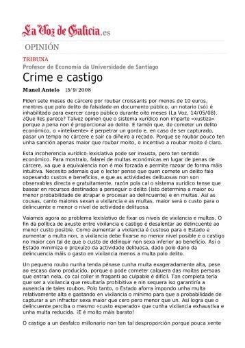 Crime e castigo - Páxinas persoais - USC