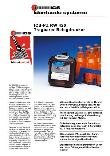 ICS-PZ RW 420 Tragbarer Belegdrucker - ICS Identcode Systeme AG