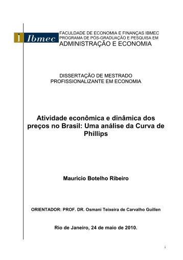 Atividade econômica e dinâmica dos preços no Brasil: Uma ... - Ibmec