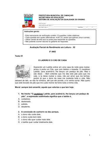 APR II - Língua Portuguesa 5º ano Instrumento de avaliação ... - Seduc