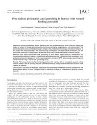 Free radical production and quenching in honeys with wound ...