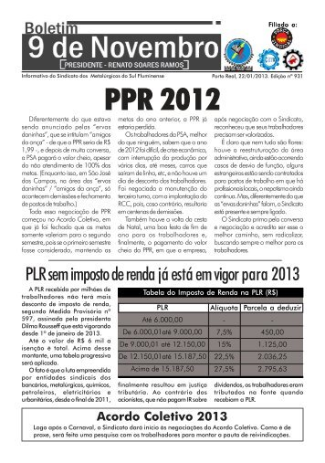 Boletim 931 - PSA - Sindicato dos Metalúrgicos da Região Sul ...