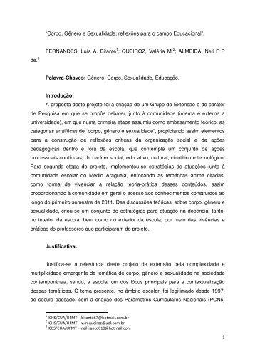"""""""Corpo, Gênero e Sexualidade: reflexões para o ... - serex 2012"""