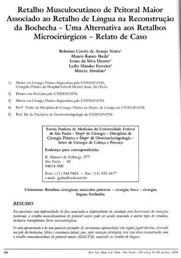 Retalho Musculocutâneo de Peitoral Maior Associado ao ... - RBCP