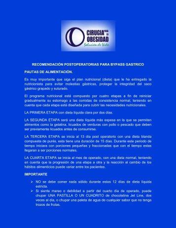 recomendación postoperatorias para bypass gastrico