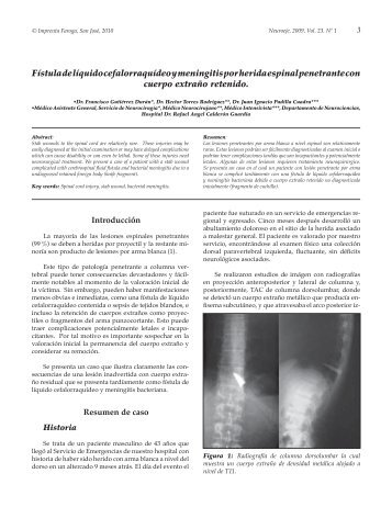 Fístula de líquido cefalorraquídeo y meningitis por herida ... - Binasss