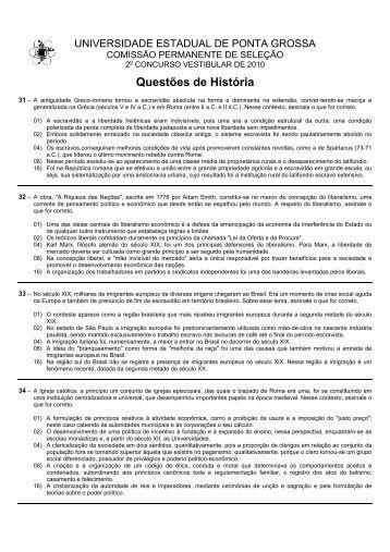 Questões de História - Universidade Estadual de Ponta Grossa