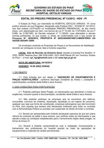 Edital do Pregão Presencial Nº13/2012/HGV - PI - Convênio