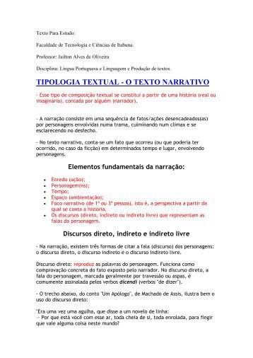 tipologia textual - o texto narrativo - Professor Jailton Alves