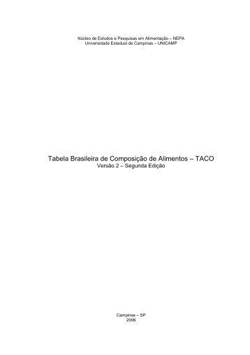 Tabela Brasileira de Composição de Alimentos – TACO - Unicamp