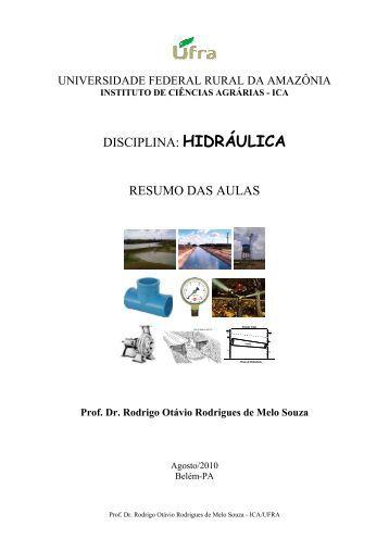 DISCIPLINA: HIDRÁULICA RESUMO DAS AULAS - Ufra