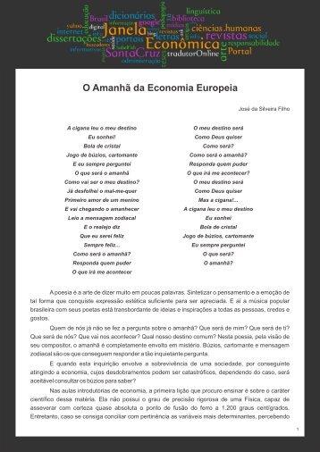 O Amanhã da Economia Europeia - Faculdades Santa Cruz