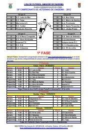 Tabela do Campeonato Veteranos de 2012 (3) - Liga de Futebol ...
