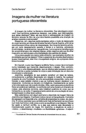 Imagens da mulher na literatura portuguesa ... - Análise Social