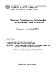 Tabela dos Procedimentos Ambulatoriais do SUS/MG por Nível de ...