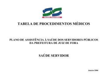 tabela de procedimentos médicos - Prefeitura de Juiz de Fora