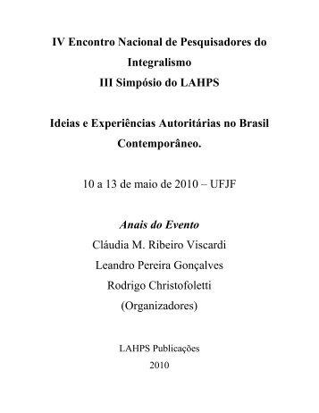 IV Encontro Nacional de Pesquisadores do Integralismo III Simpósio ...
