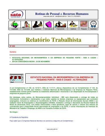 Relatório Trabalhista - Sato Consultoria de Pessoal