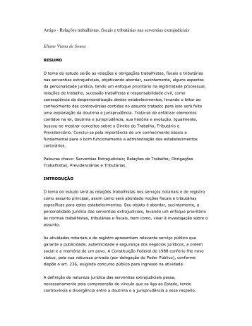 Artigo - Relações trabalhistas, fiscais e tributárias nas ... - Recivil