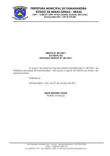 prefeitura municipal de itamarandiba estado de minas gerais – brasil