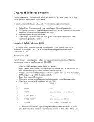 Crearea si definirea de tabele - Cadre Didactice