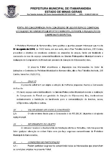 prefeitura municipal de itamarandiba estado de minas gerais