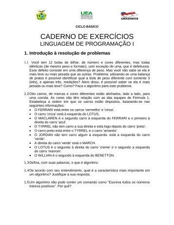 lista de exercícios - Tiago de Melo