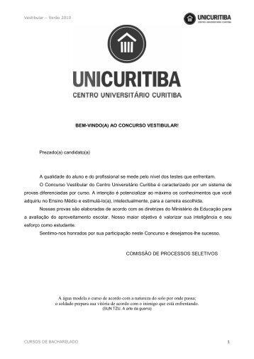 CURSOS DE BACHARELADO _prova com gabarito - Unicuritiba