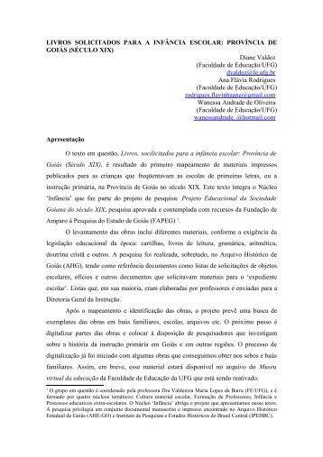 Diane Valdez - Anais do Simpósio de Estudos e Pesquisa - UFG