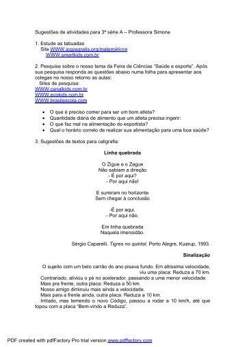 Sugestões de atividades para 3ª série A – Professora Simone 1 ...